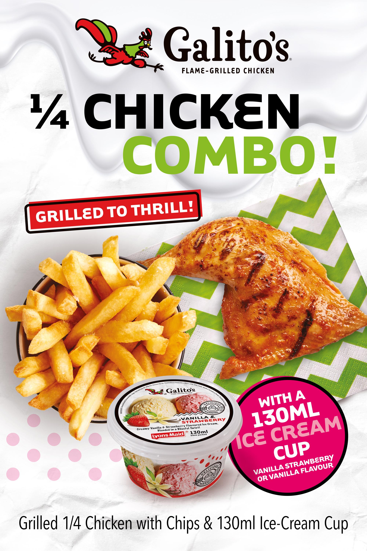 1/4 Chicken & Chips with 130ml Ice Cream